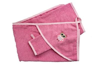 Банный аксессуар Пелёнка с варежкой Совушка (розовый) фото