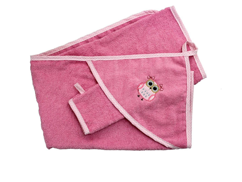 Банный аксессуар Пелёнка с варежкой Совушка (розовый) фото FullHD (0)