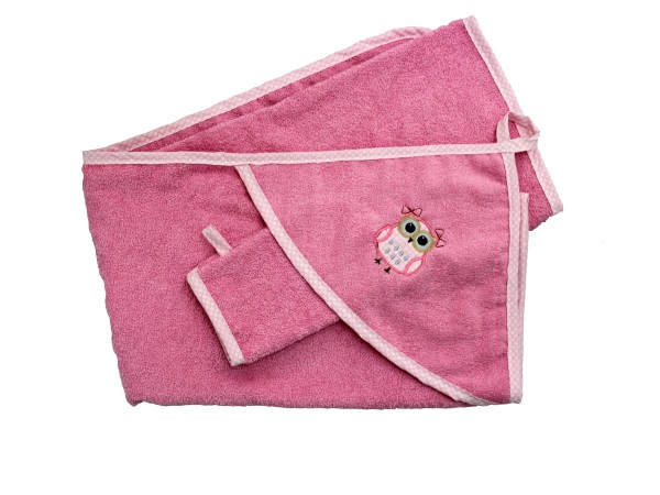Банный аксессуар Пелёнка с варежкой Совушка (розовый) фото (0)