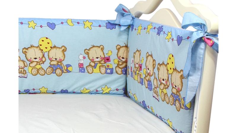 Бортик в кроватку Давай поиграем (голубой) фото (1)
