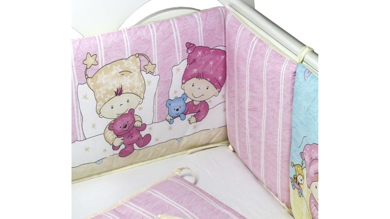 Бортик в кроватку Детки (розовый) фото (1)
