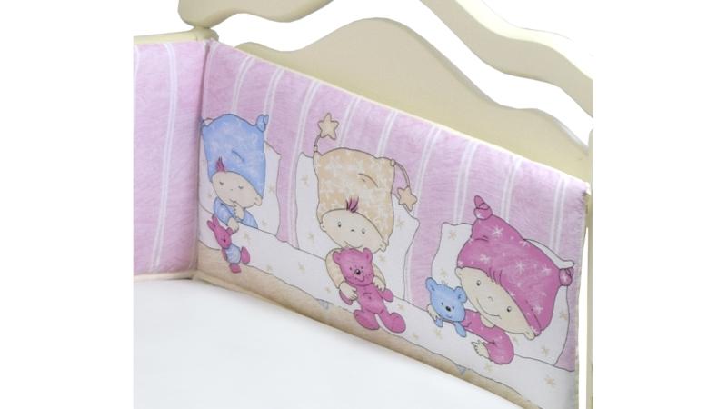Бортик в кроватку Детки (розовый) фото (2)