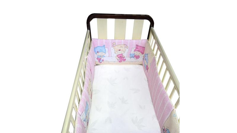 Бортик в кроватку Детки (розовый) фото (3)