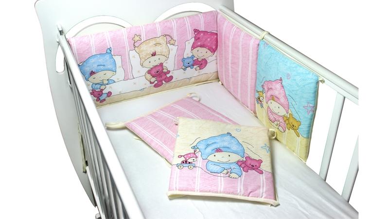 Бортик в кроватку Детки (розовый) фото (0)