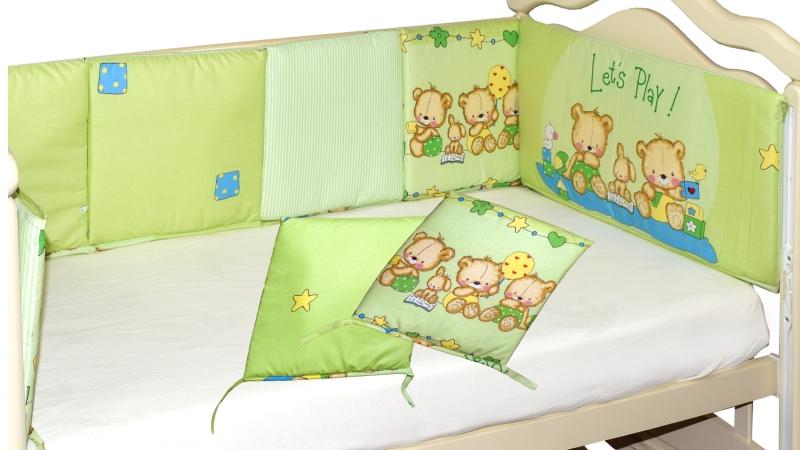 Бортик в кроватку Игрушечный (зеленый) фото (1)