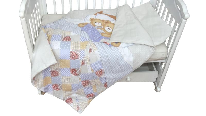 Детское постельное бельё Мишки под одеялом фото (1)