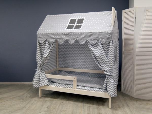 Домик-кроватка Fiabo (с бортом; беленый дуб) фото (1)
