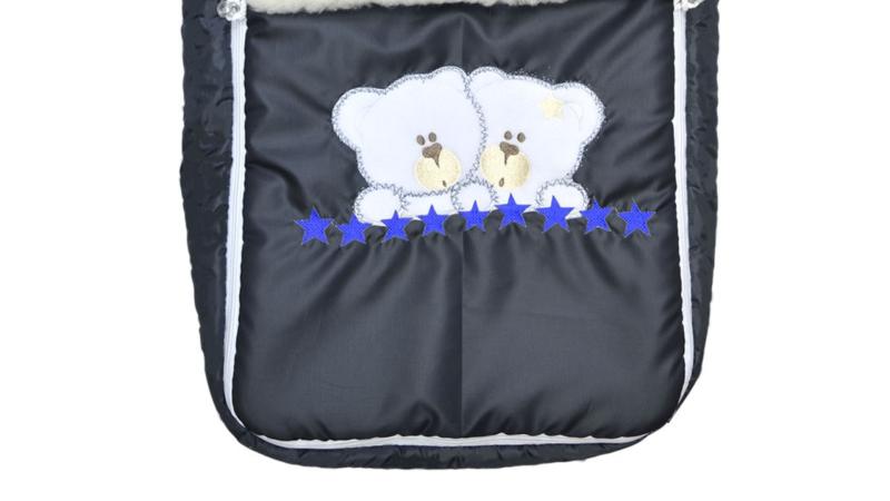 Конверт/одеяло на выписку Мишки (синие звёзды) фото (2)