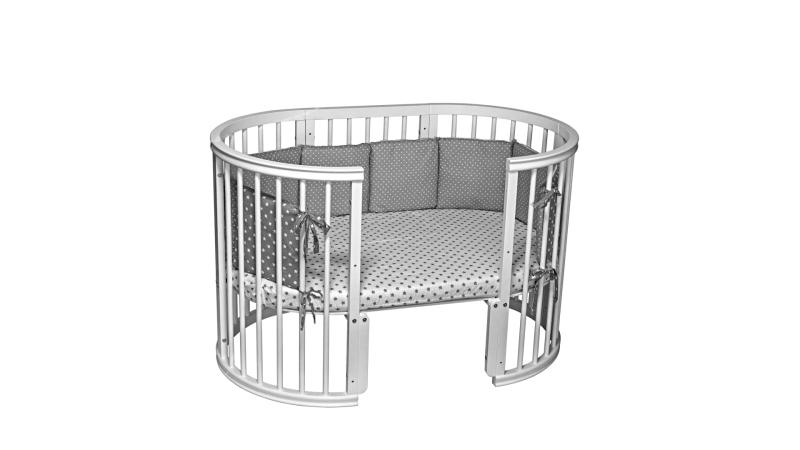 Кроватка для новорожденного Грация 8 в 1 (цв. серый) фото (1)