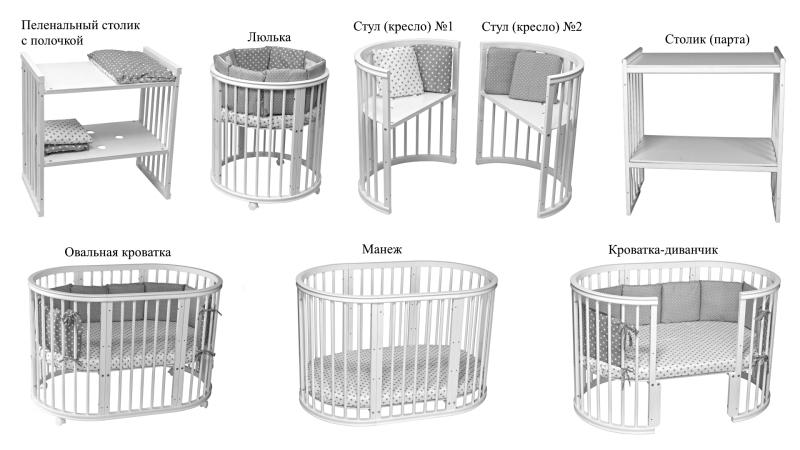 Кроватка для новорожденного Грация 8 в 1 (цв. серый) фото (5)