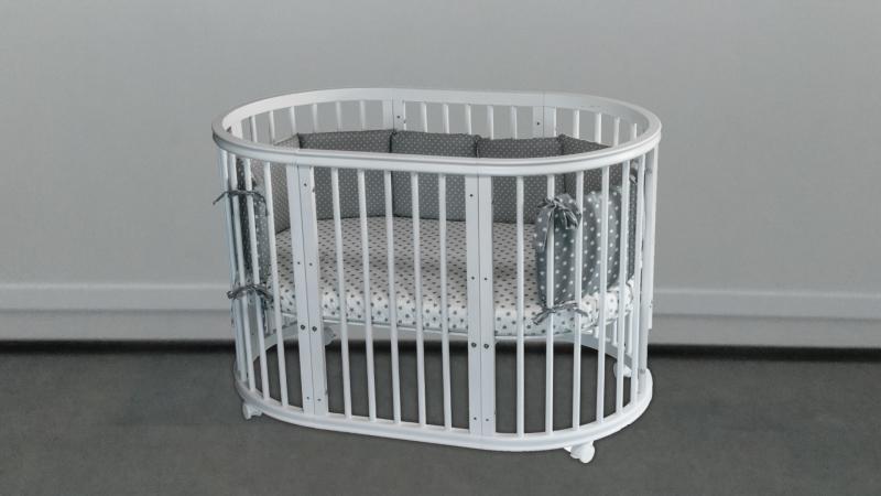 Кроватка для новорожденного Грация 8 в 1 (цв. серый) фото (0)