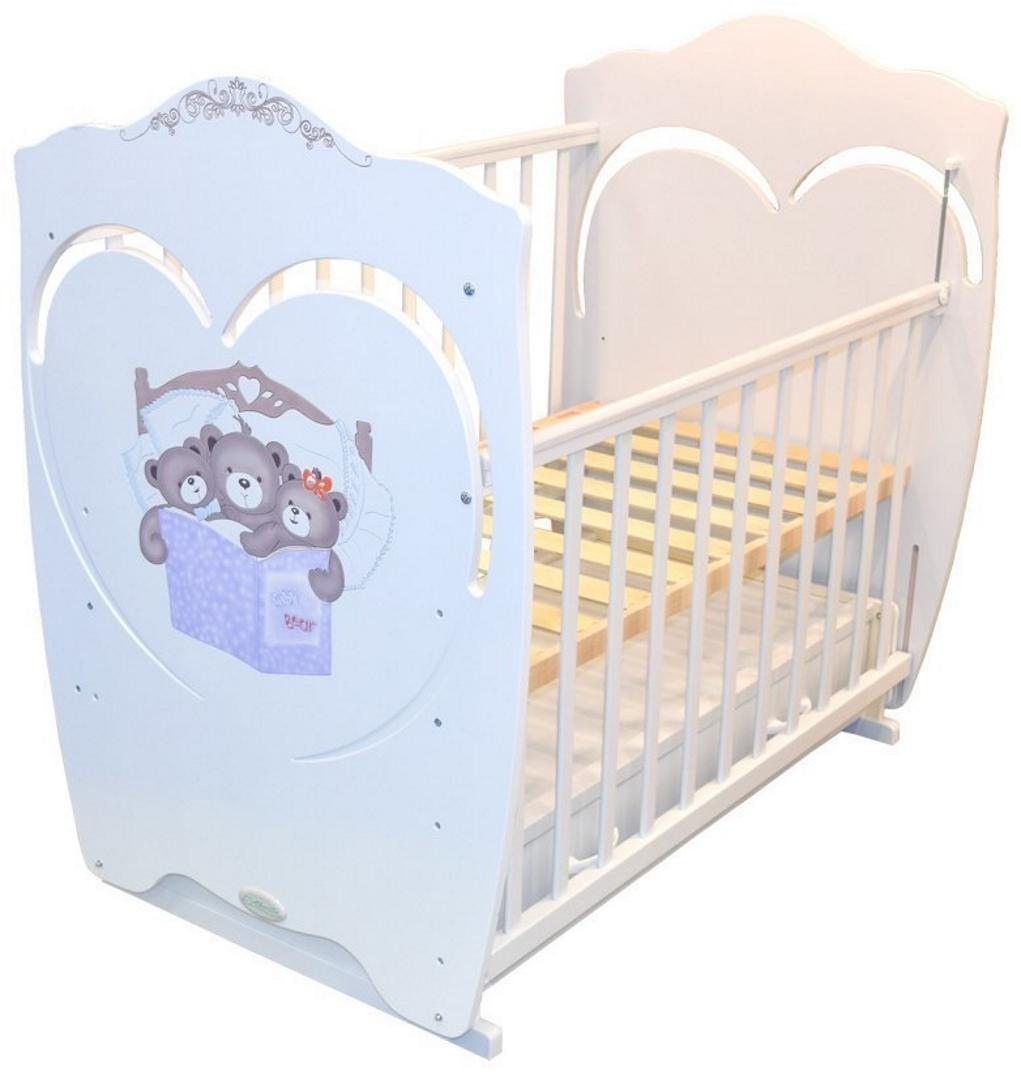 Кроватка для новорожденного Famille (маятник, ящик; цв. белый) фото FullHD (0)