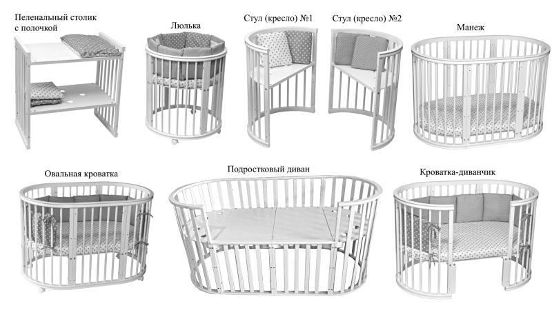 Кроватка для новорожденного Габи 9 в 1 (маятник; цв. шоколад) фото (1)