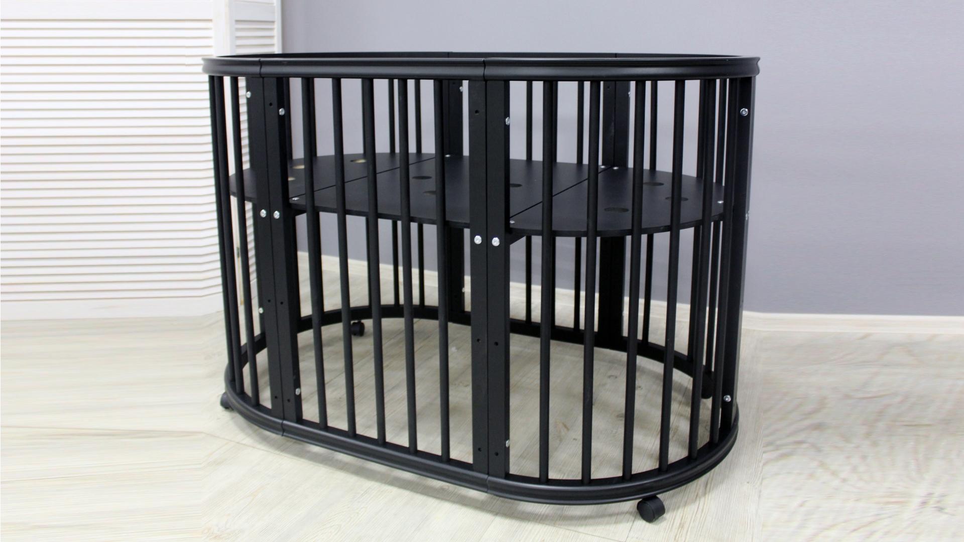 Кроватка для новорожденного Грация 8 в 1 (цв. чёрный) фото FullHD (0)
