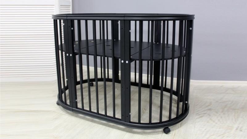 Кроватка для новорожденного Грация 8 в 1 (цв. чёрный) фото (0)