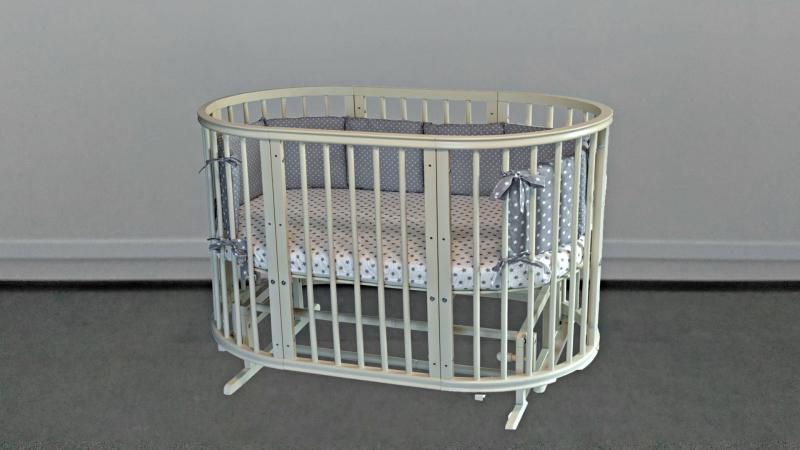 Кроватка для новорожденного Грация 8 в 1 (маятник; цв. слон.кость) фото (0)