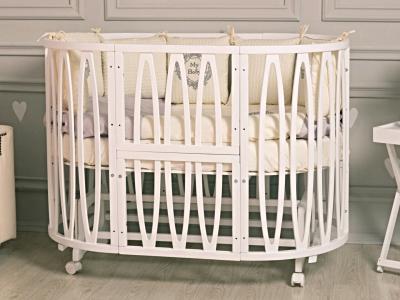 Кроватка для новорожденного Лилу 10 в 1 (маятник; цв. белый) фото