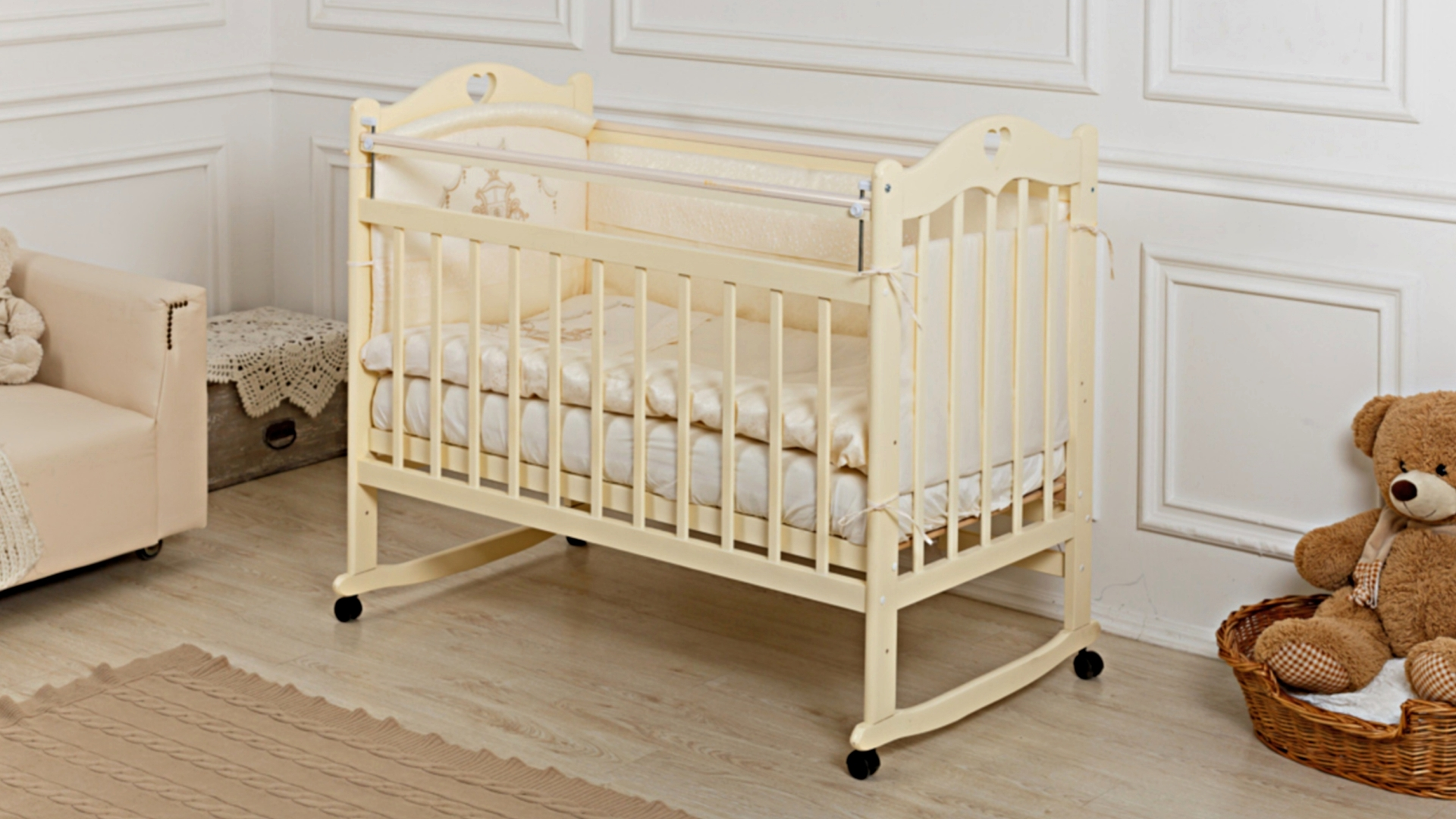 Кроватка для новорожденного Милана (качалка; цв. слон.кость) фото FullHD (0)
