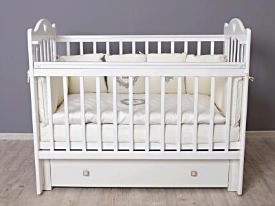Кроватка для новорожденного Милана (маятник, с ящиком) белый фото