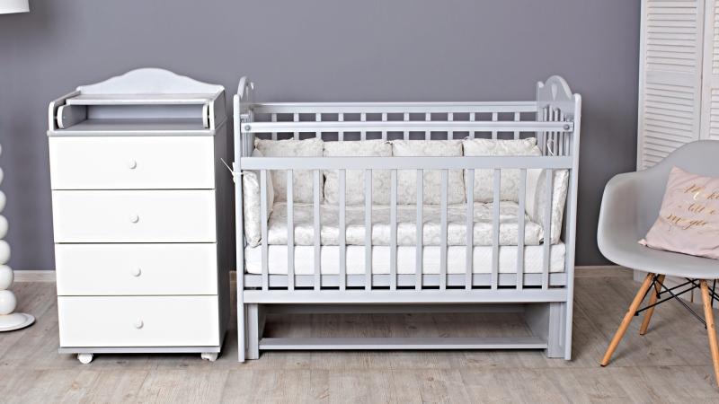 Кроватка для новорожденного Милана (маятник; цв. серый) фото (1)