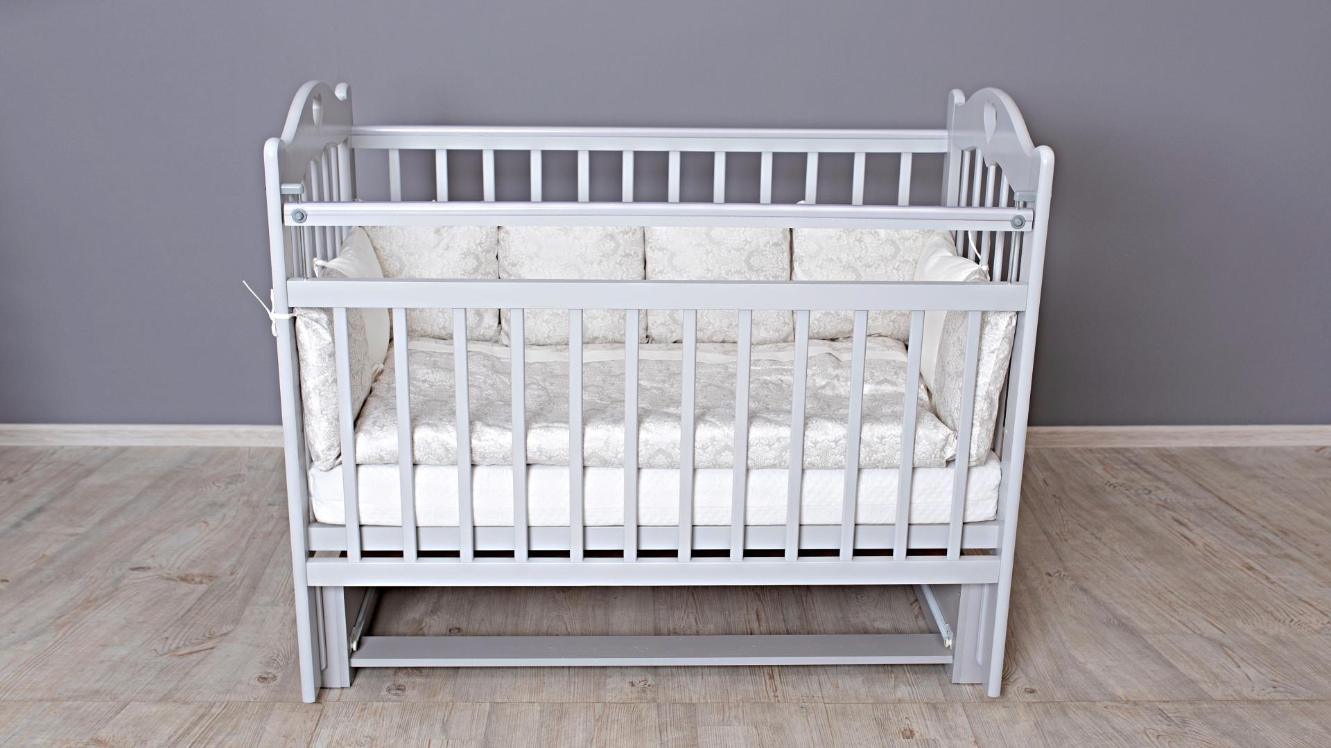 Кроватка для новорожденного Милана (маятник; цв. серый) фото FullHD (0)