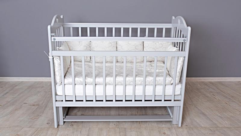 Кроватка для новорожденного Милана (маятник; цв. серый) фото (0)