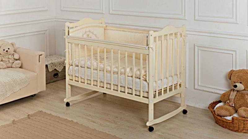 Кроватка для новорожденного Мишка (качалка; цв. слон.кость) фото (1)