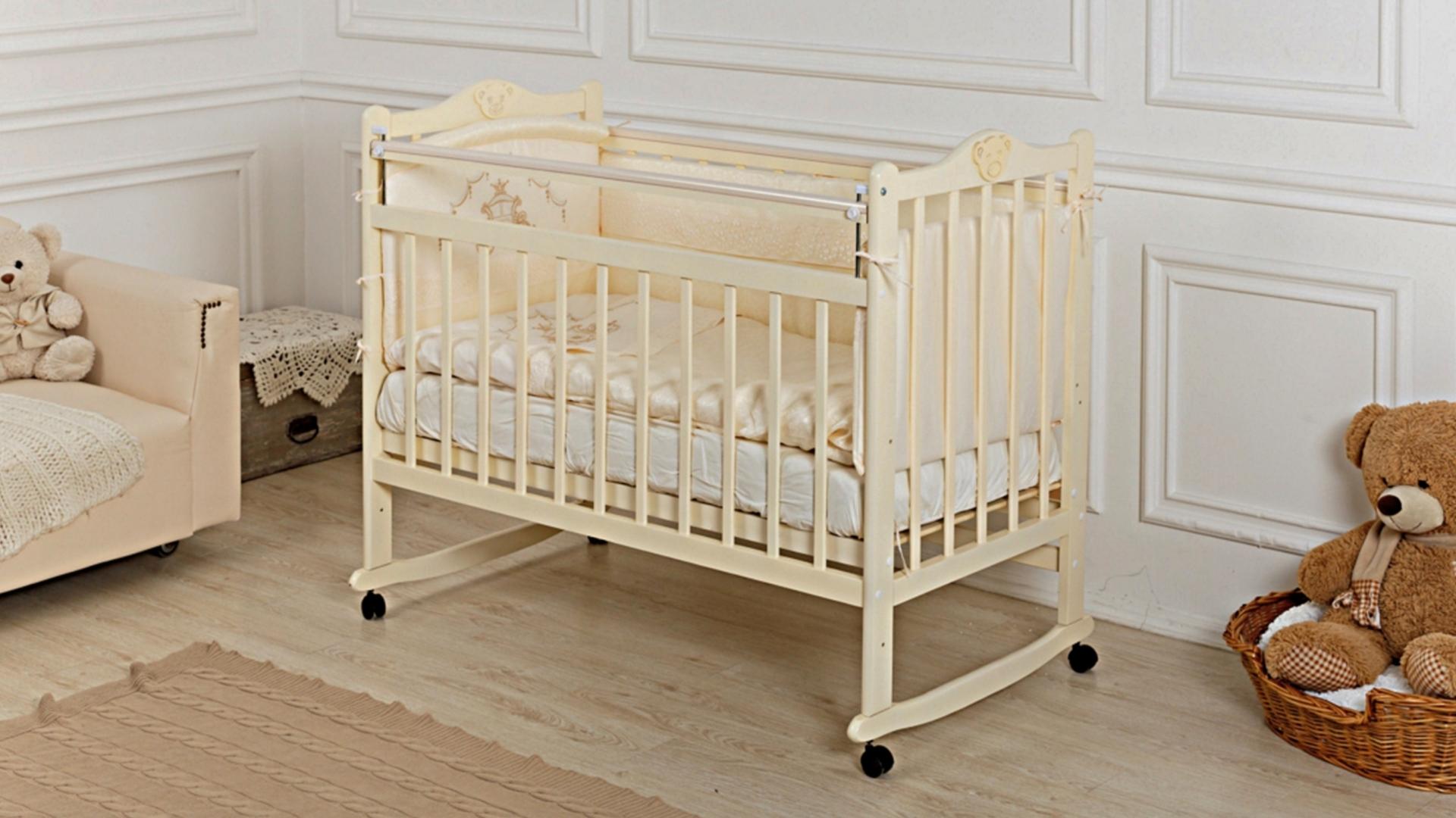 Кроватка для новорожденного Мишка (качалка; цв. слон.кость) фото FullHD (0)