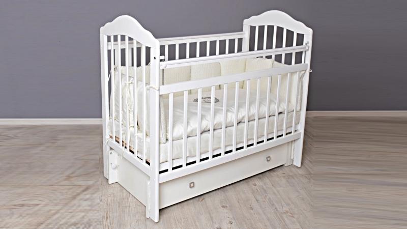Кроватка для новорожденного Мишка (маятник, ящик; цв. белый) фото (2)