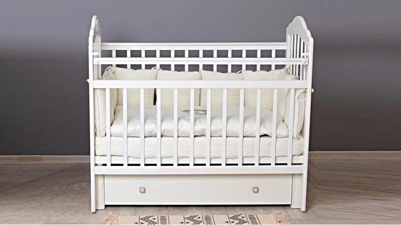 Кроватка для новорожденного Мишка (маятник, ящик; цв. белый) фото (0)