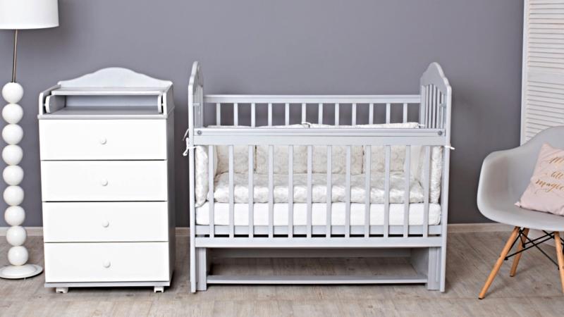 Кроватка для новорожденного Мишка (маятник; цв. серый) фото (1)