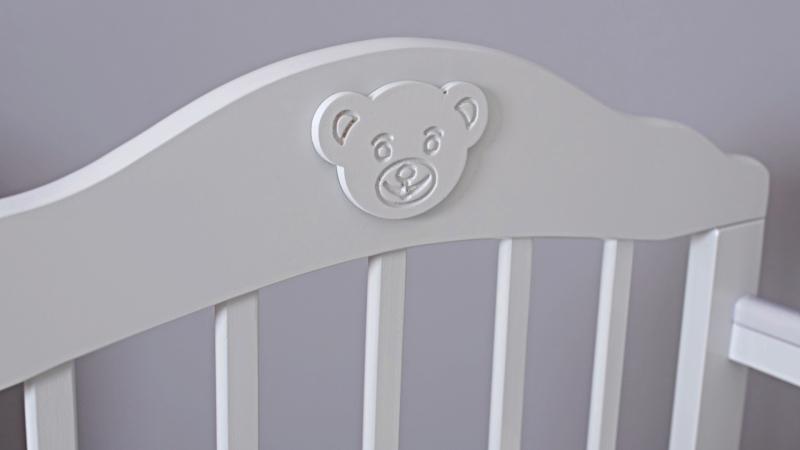 Кроватка для новорожденного Мишка (маятник; цв. серый) фото (2)