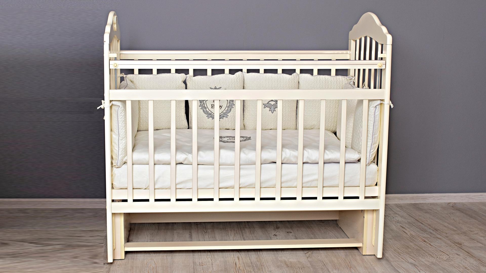 Кроватка для новорожденного Мишка (маятник; цв. слон.кость) фото FullHD (0)