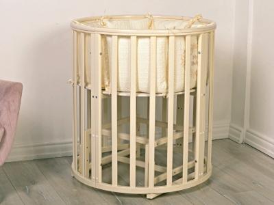 Кроватка для новорожденного Мия 7 в 1 (маятник) слон. кость фото