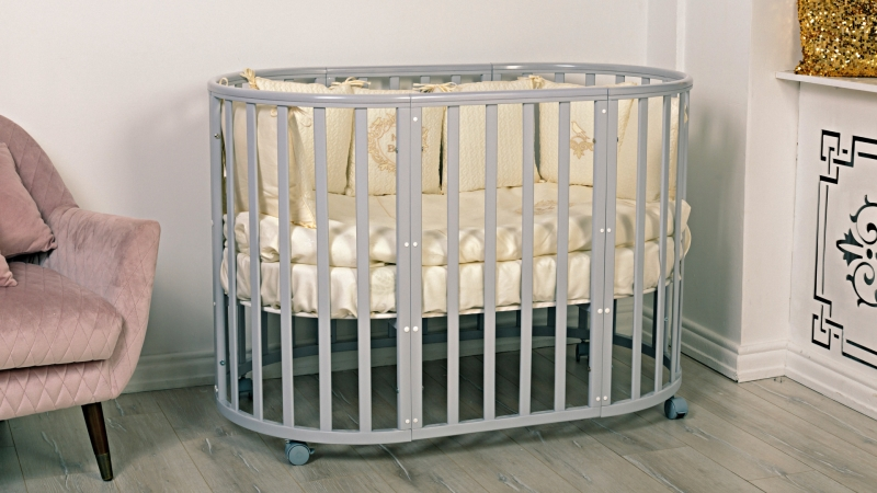 Кроватка для новорожденного Мия 7 в 1 (цв. серый элит) фото (1)