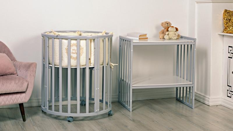 Кроватка для новорожденного Мия 7 в 1 (цв. серый элит) фото (0)