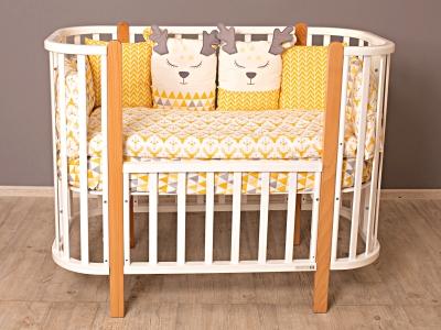 Кроватка для новорожденного Персона (маятник), белый/ стойки натуральные фото