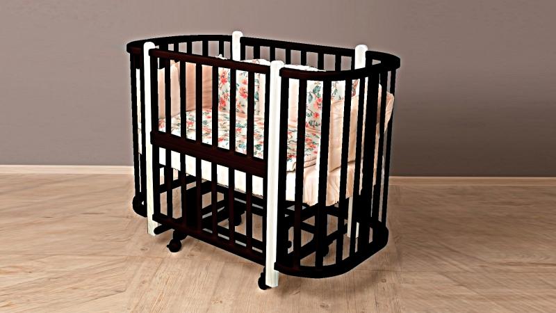 Кроватка для новорожденного Персона (маятник; цв. венге/белый) фото (1)