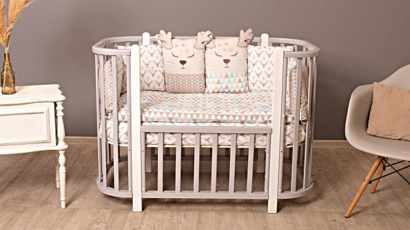 Кроватка для новорожденного Персона (цв. серый/белый) фото (0)