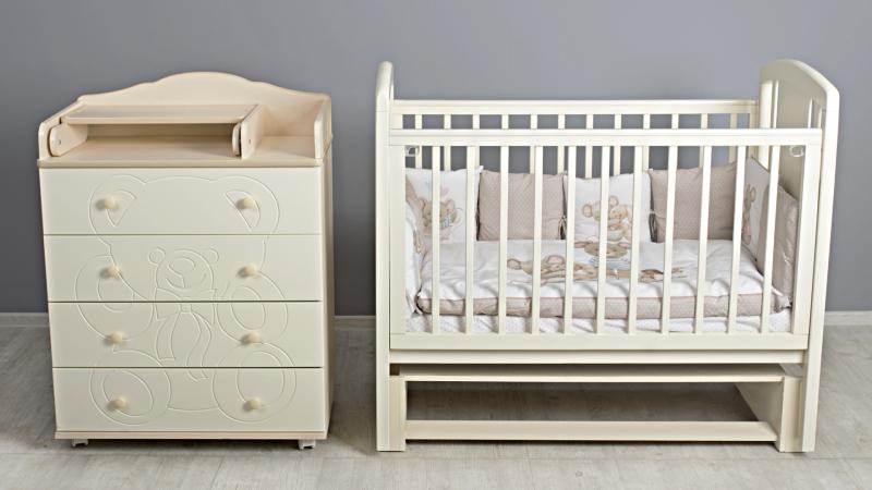 Кроватка для новорожденного Принц (маятник; цв. слон.кость)  фото (1)