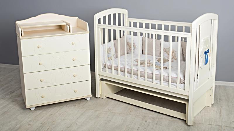 Кроватка для новорожденного Принц (маятник; цв. слон.кость)  фото (3)