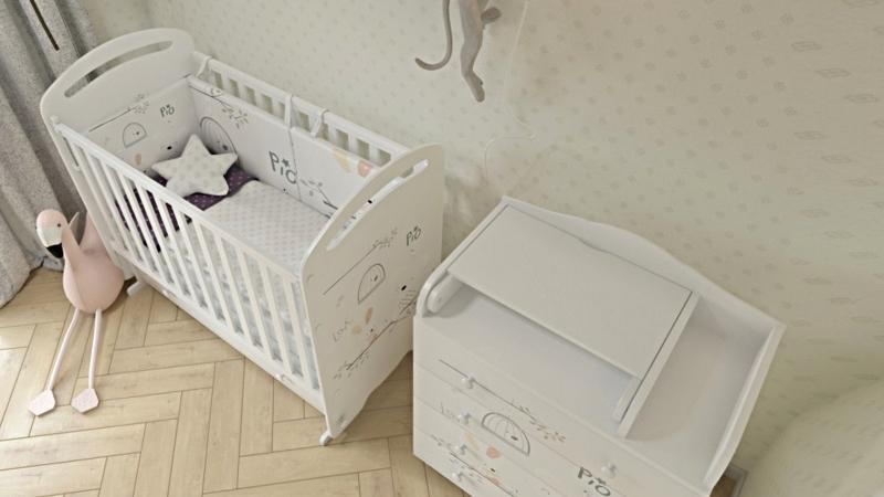 Кроватка для новорожденного Сказка (маятник, ящик; цв. белый) с принтом фото (1)