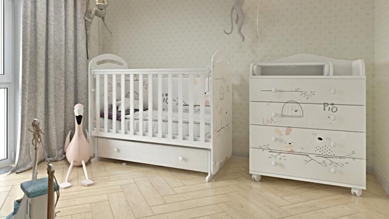Кроватка для новорожденного Сказка (маятник, ящик; цв. белый) с принтом фото (2)