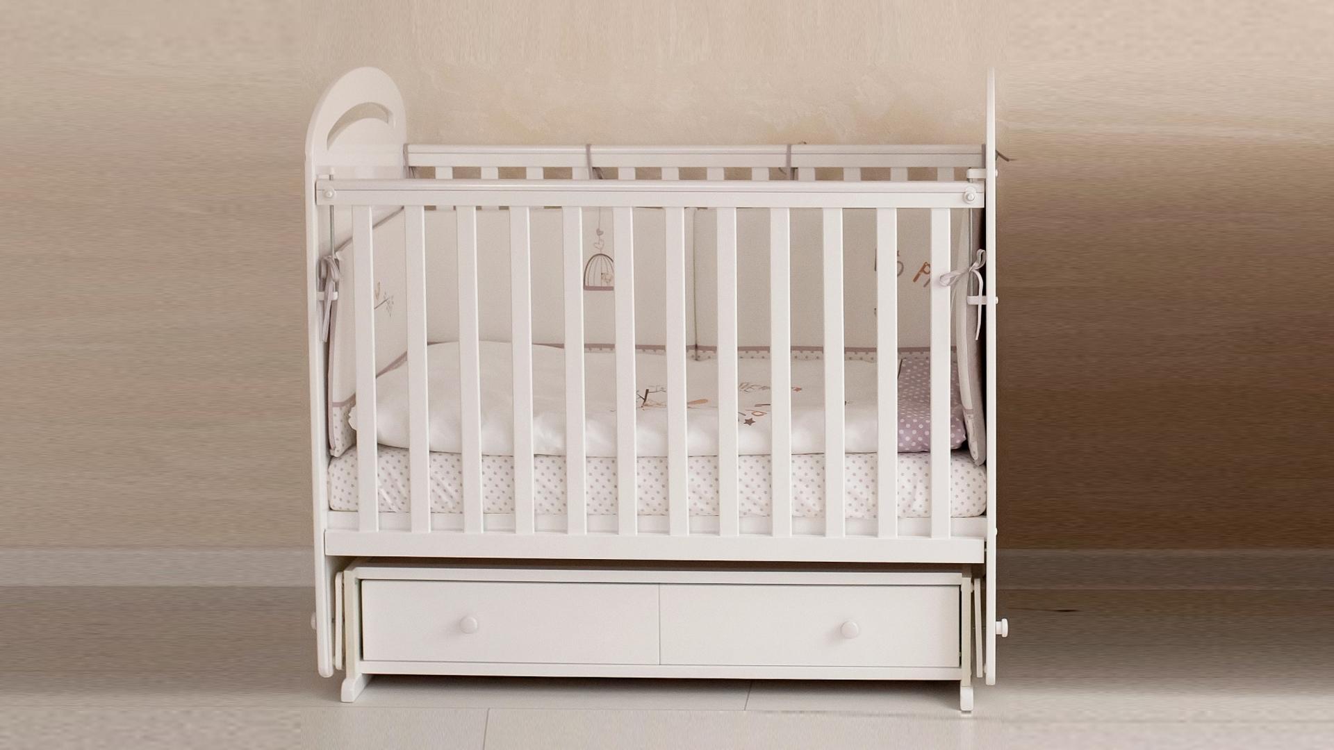 Кроватка для новорожденного Сказка (маятник, ящик; цв. белый) с принтом фото FullHD (0)