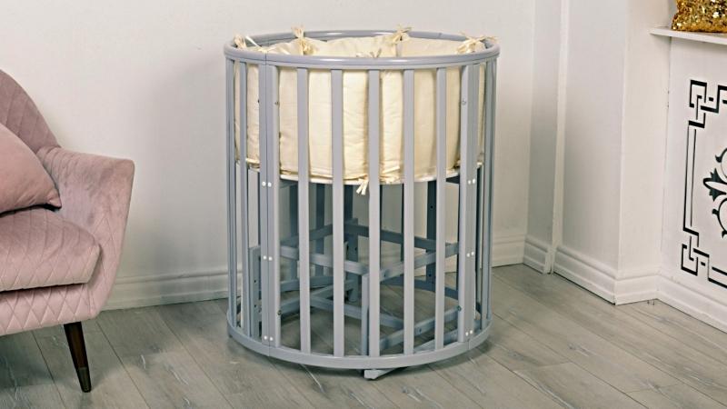 Кроватка для новорожденного Соня 8 в 1 (маятник; цв. серый) элит фото (4)