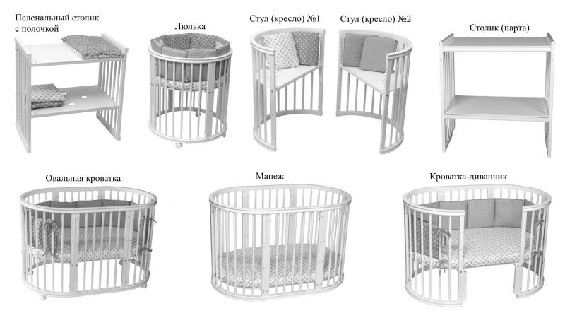 Кроватка для новорожденного Соня 8 в 1 (маятник; цв. серый) элит фото (5)