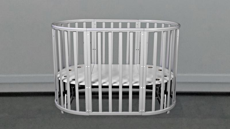 Кроватка для новорожденного Соня 8 в 1 (маятник; цв. серый) элит фото (0)
