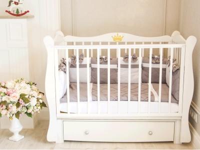 Кроватка для новорожденного Стефания (маятник, с ящиком), белый фото