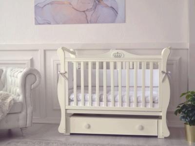 Кроватка для новорожденного Валерия (маятник, с ящиком), слон. кость фото