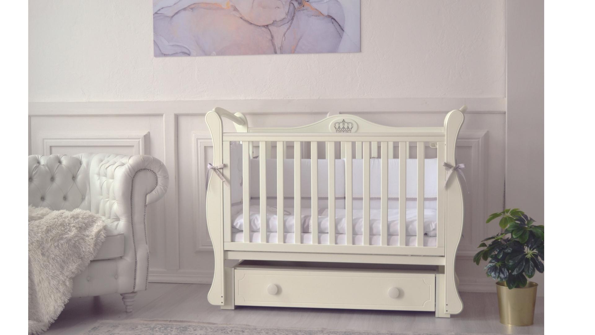 Кроватка для новорожденного Валерия (маятник, ящик; цв. слон.кость) фото FullHD (0)